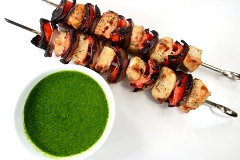 chicken kabobs with chimichurri sauce
