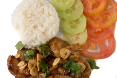 Thai Chicken and Fried Garlic with Rice