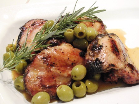 American | Grilled Chicken Thighs with Green Olives and Sherry Vinegar ...