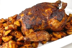 Portuguese roast chicken with potatoes