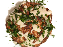 whole roasted cauliflower with tahini sauce